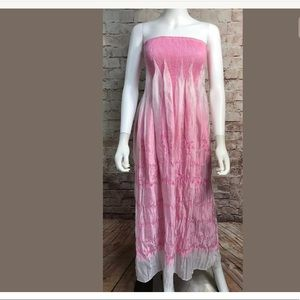 Lapis Strapless Maxi Dress One Size Pink White